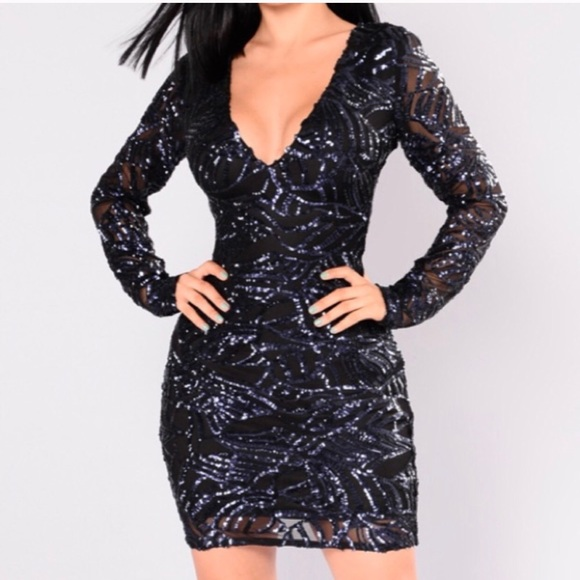 3fb959dd4a Fashion Nova Navy Sequin Dress